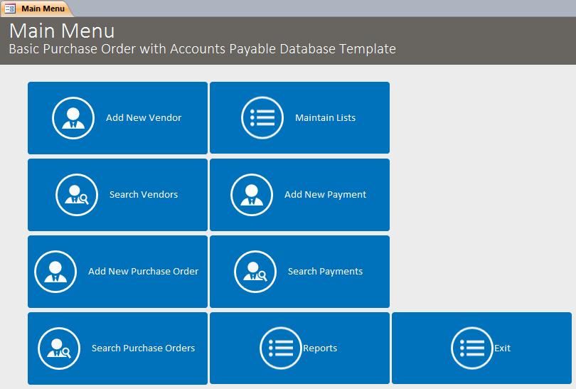 basic purchase order with accounts payable database