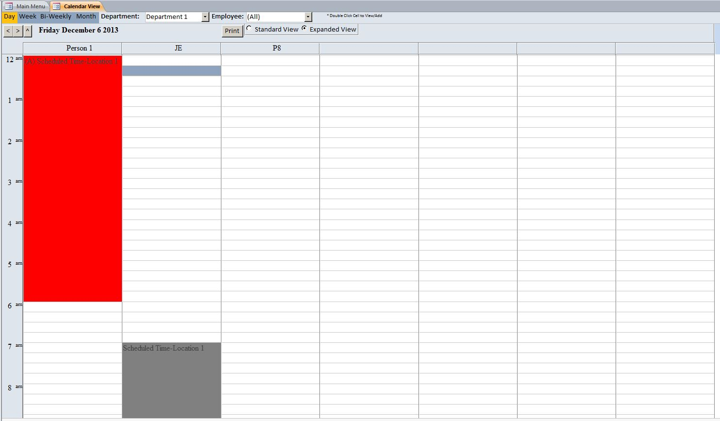 Microsoft Access Contractor Scheduling Database Template