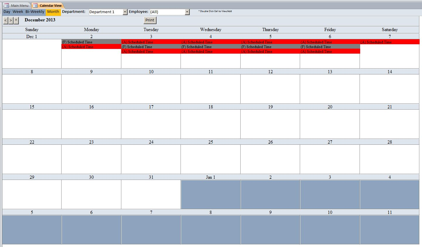 employee scheduling database template