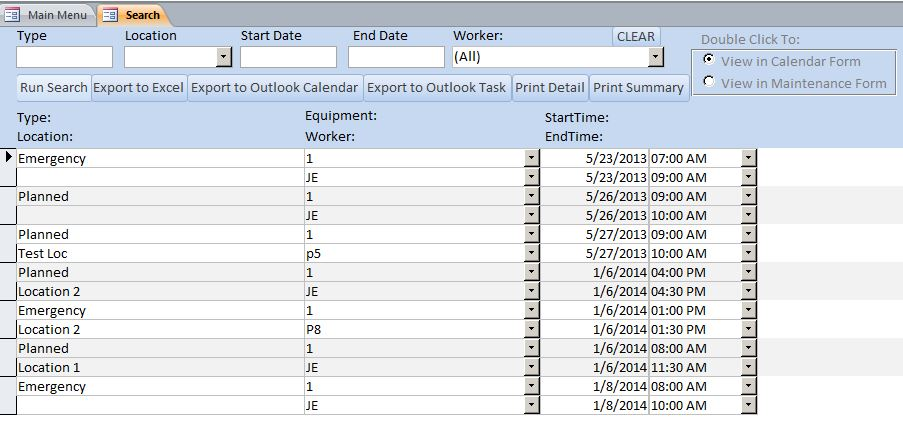 microsoft access equipment maintenance log tracking