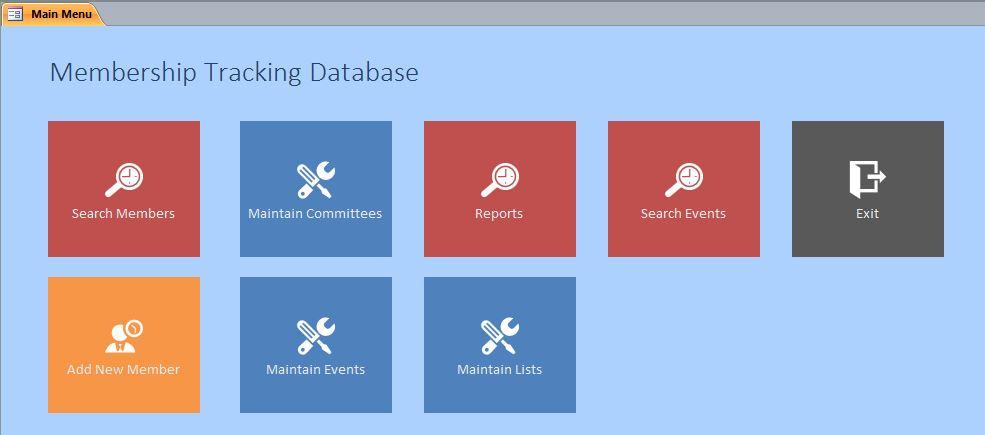 Microsoft Access Membership Tracking Database Template