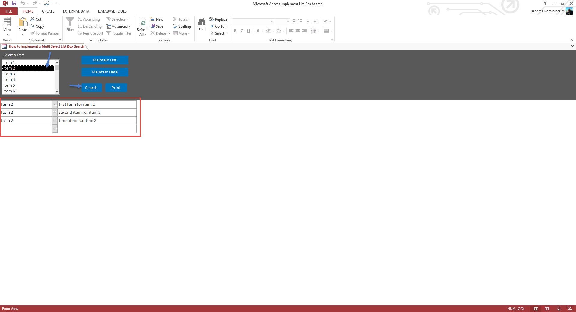 multi select list box search template
