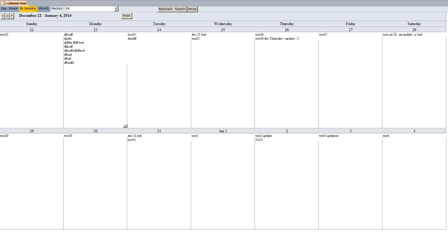 Week Calendar Template Bi-weekly view - by person
