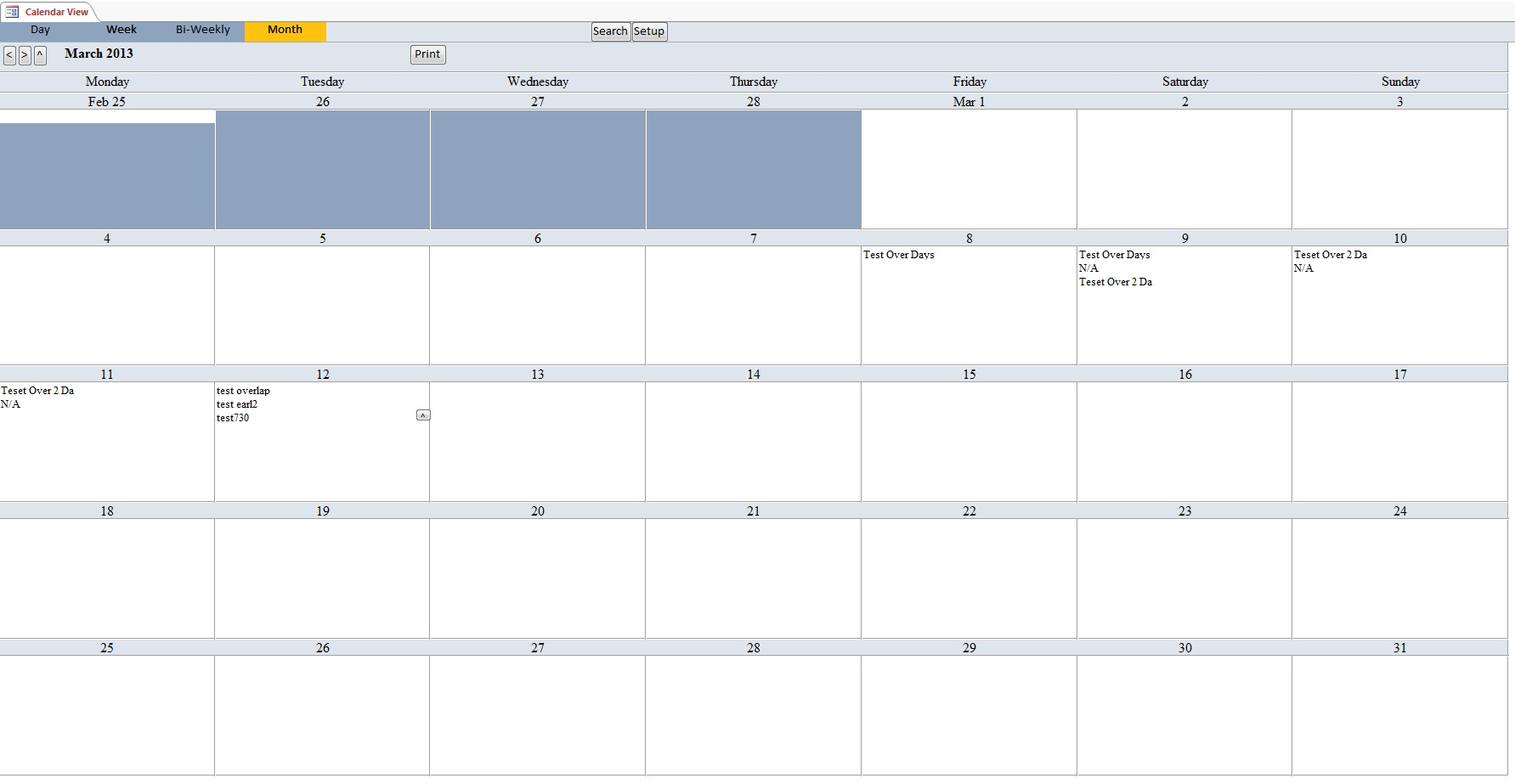 calendar scheduling database template