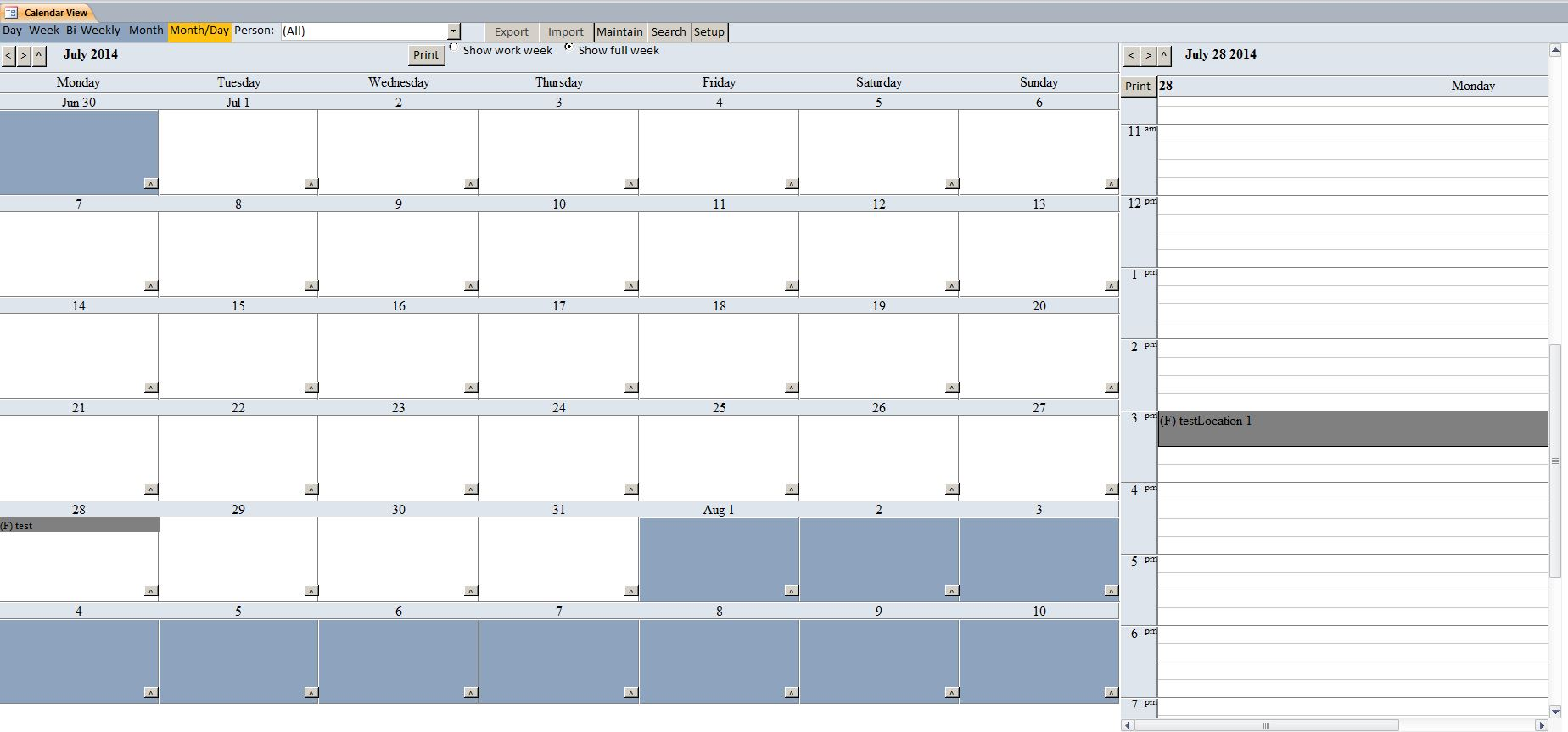 Enhanced Microsoft Access Calendar Scheduling Database