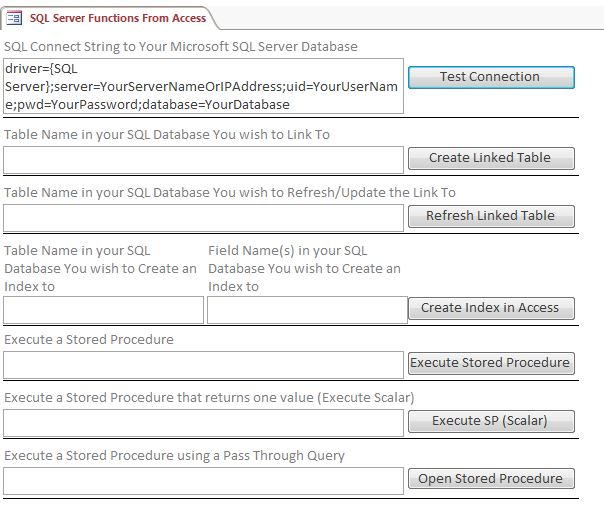 sql server stored procedure template - microsoft access custom sql server functions system