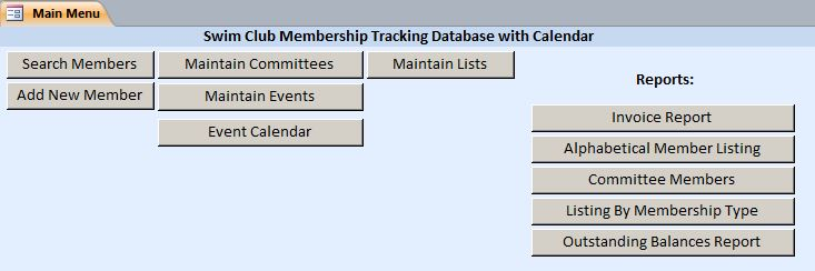 swim club membership tracking database with calendar template. Black Bedroom Furniture Sets. Home Design Ideas