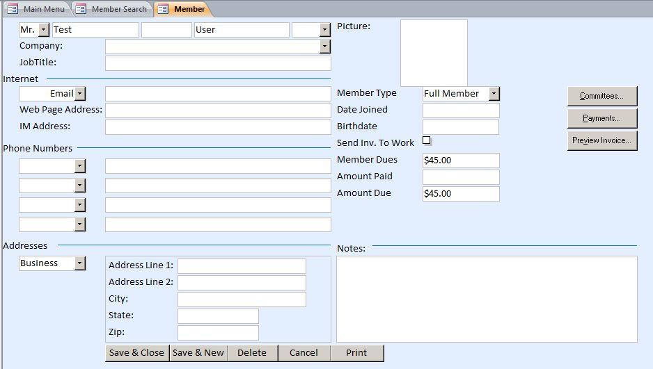 Microsoft Access Swim Club Membership Tracking Database
