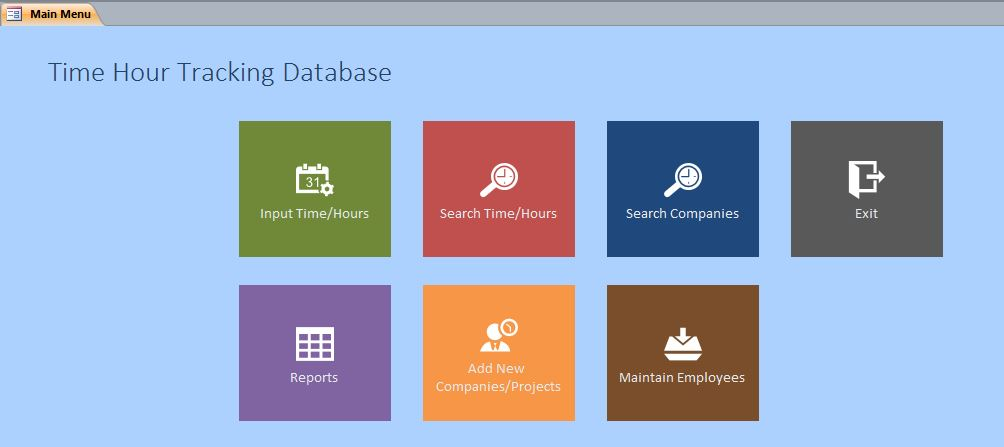 time hour tracking database template