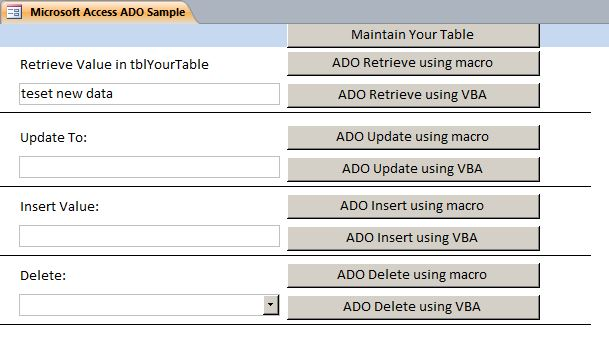 Microsoft Access Sample Code | How to use ADO | ActiveX Data Objects