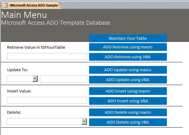 Microsoft Access Sample Code | How to use ADO | ActiveX Data