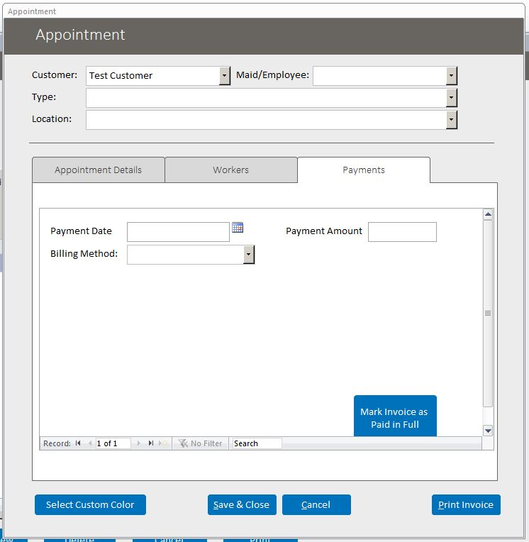 Architect Appointment Tracking Database Template Outlook Style | Appointment Database