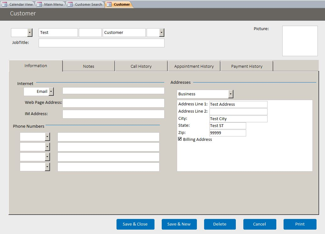 Architect Enhanced Customer Contact Template | Contact Database