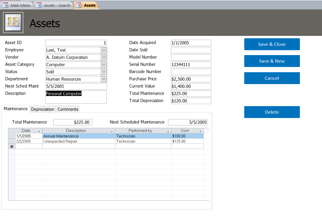 Microsoft Access Asset Tracking Database Template
