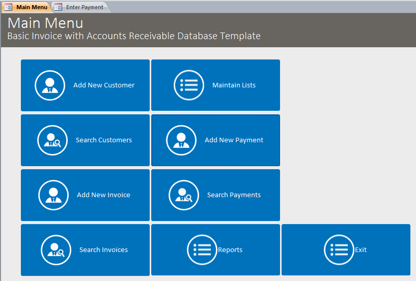 basic business invoicing with accounts receivable template database