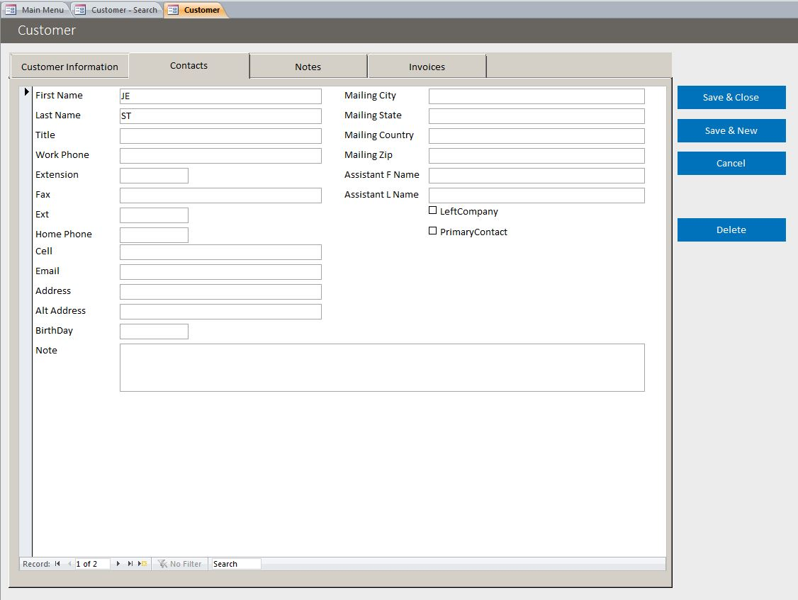 Microsoft Access Basic Business Invoicing Template Database - Basic invoice program