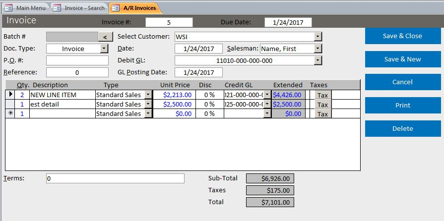 microsoft access basic business invoicing template database