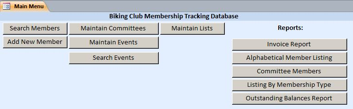 Biking Club Membership Tracking Database Template | Membership Database