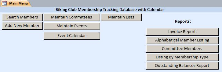 Biking Club Membership Tracking Database With Calendar | Membership Database