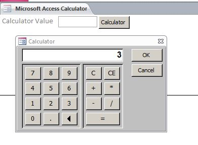 Microsoft Access Calculator Database Popup Calculator Form