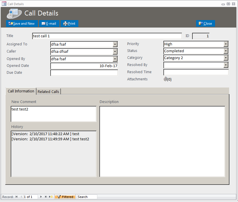 Call Tracker Database Template | Call Tracking Database