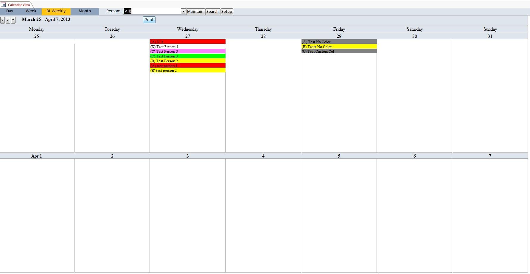 Microsoft Access Church Calendar Scheduling Database Template