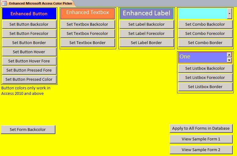 Microsoft Access Custom Global Form Color Setter System