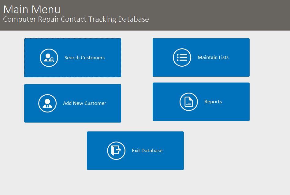 Microsoft Access Computer Repairman Contact Tracking Database ...