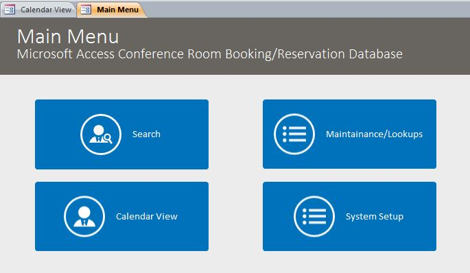 conference room booking reservation database template