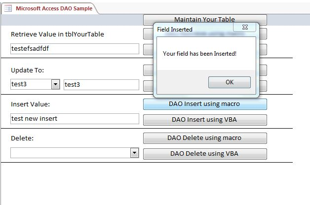 Microsoft Access Sample Code | Using DAO | Data Access Objects