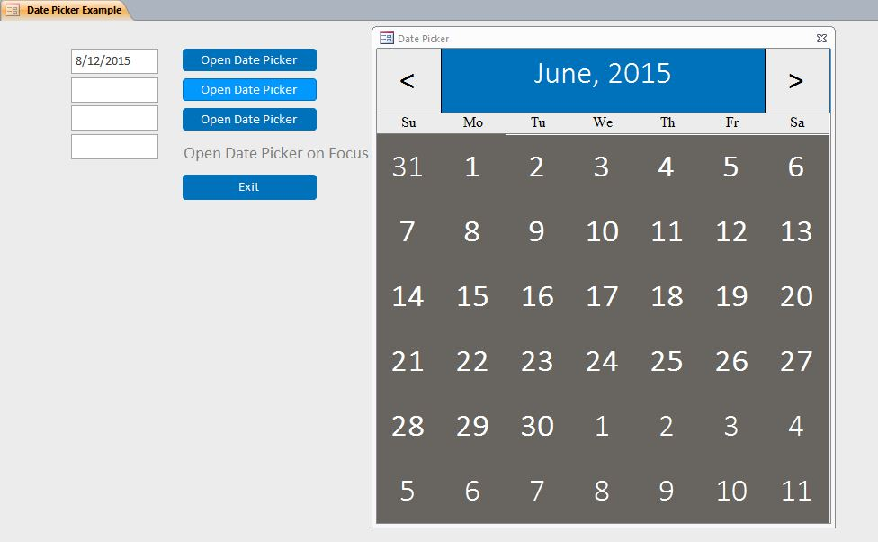 custom date picker system