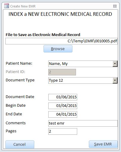 Electronic Medical Record Database Template | EMR Software