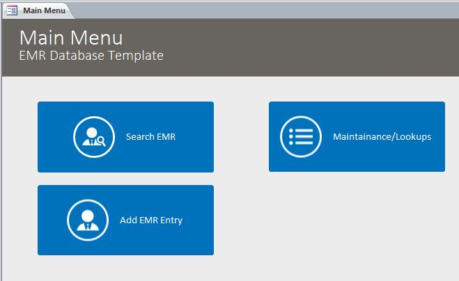electronic medical record database template