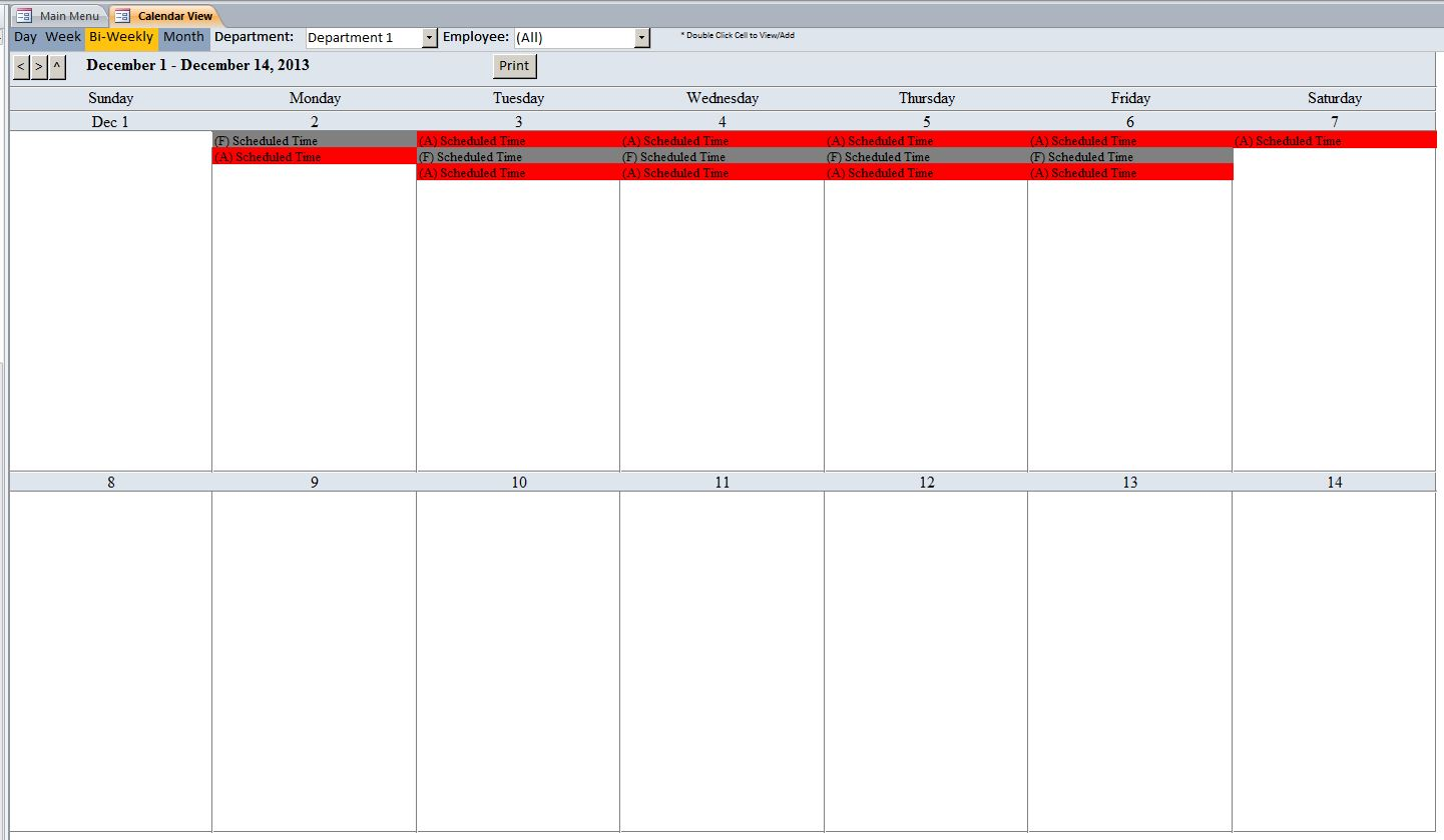 Microsoft Access Employee Scheduling Database Template - Bi weekly work schedule templates free