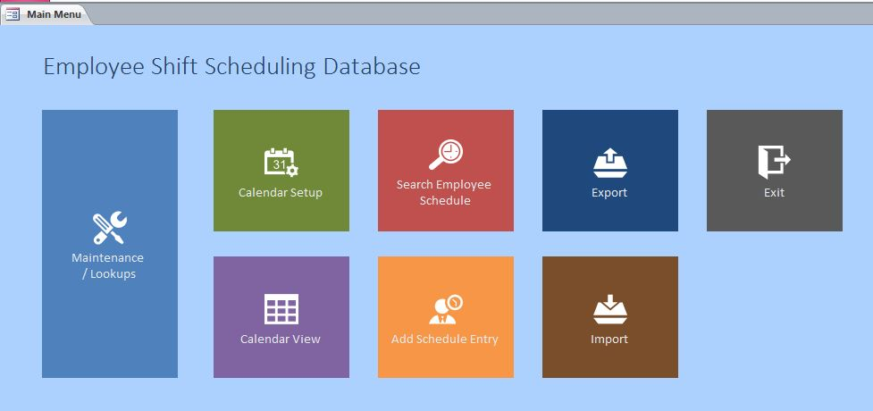 Microsoft access employee scheduling database template for Ms access 2007 templates