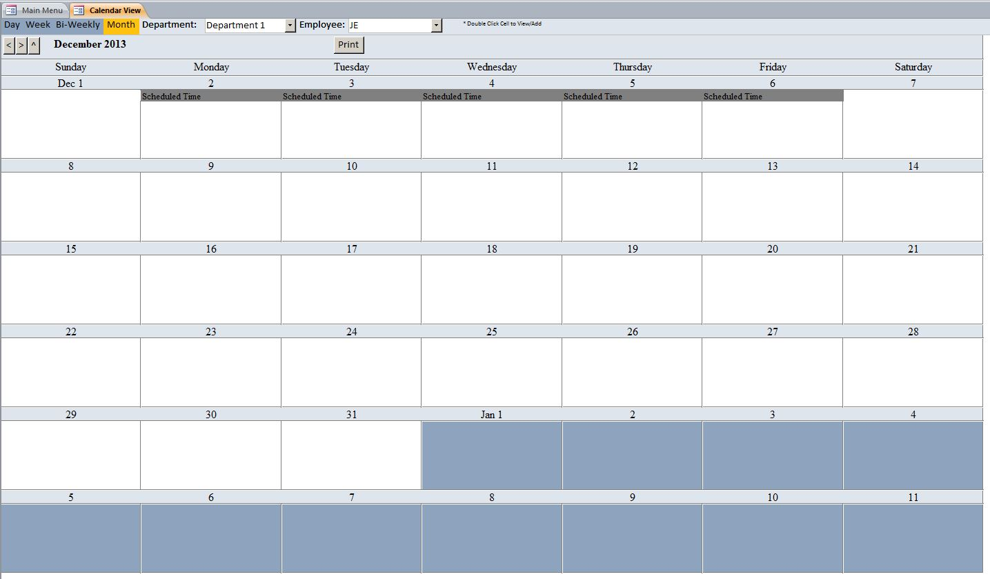 employee vacation tracking database template