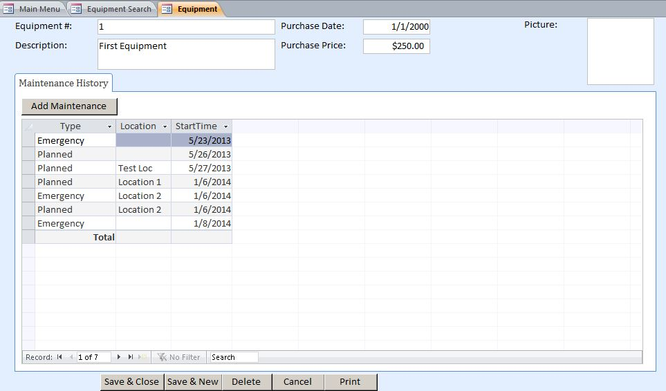 Microsoft Access Equipment Maintenance Log Tracking Database Template ...