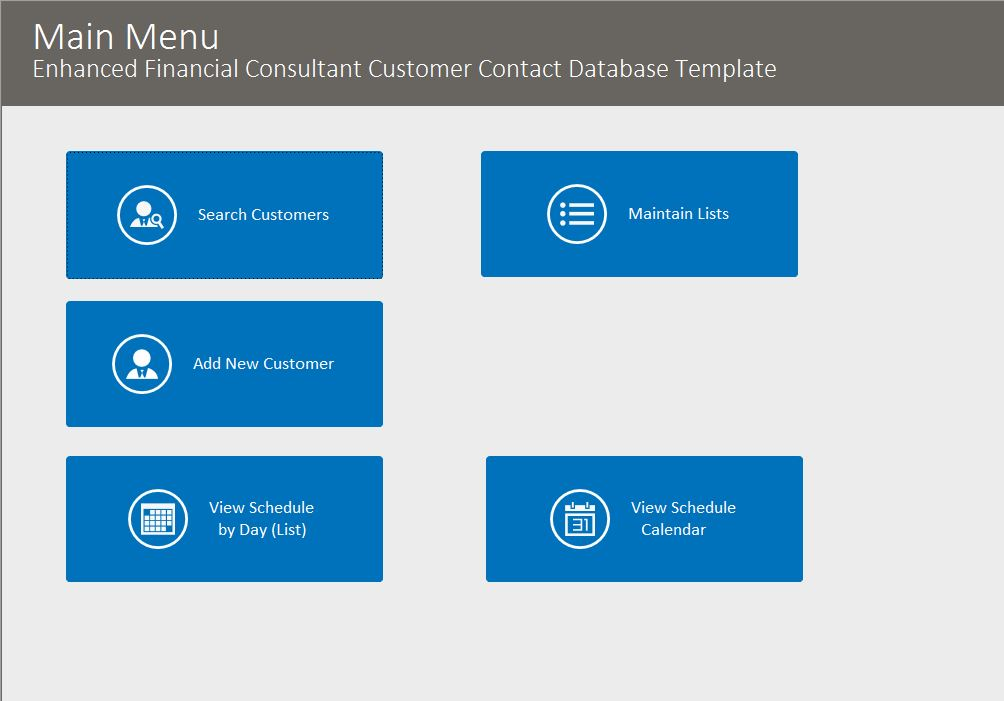 Financial Consultant Enhanced Contact Tracking Database Template | Contact Database
