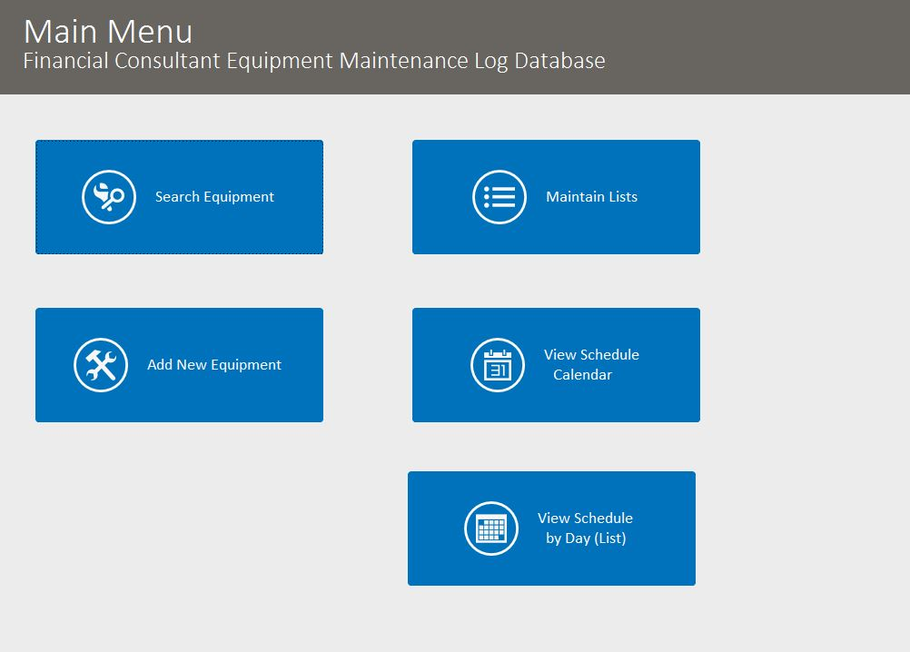Financial Consultant Equipment Maintenance Log Tracking Template | Equipment Database