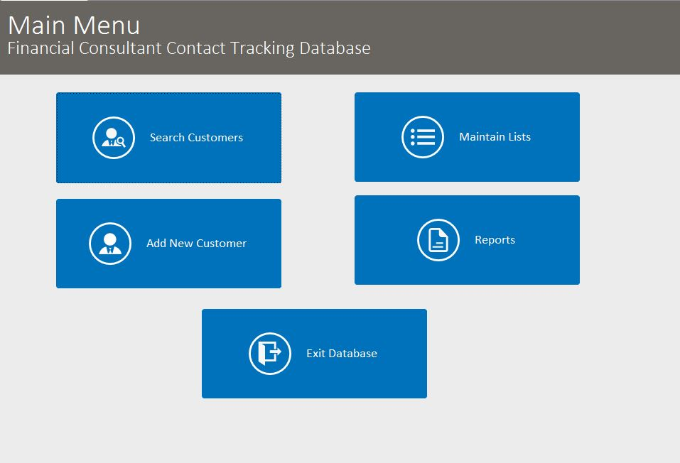 Financial Consultant Contact Tracking Database Template | Contact Database