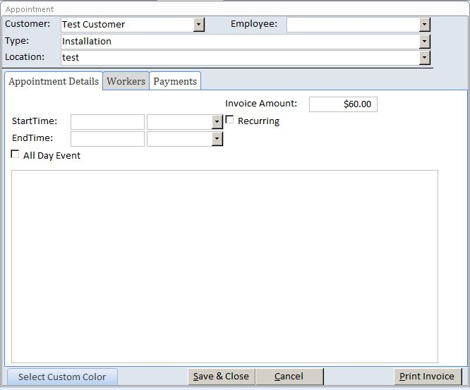 Freelance Contractor Appointment Tracking Template Outlook Style | Appointment Database