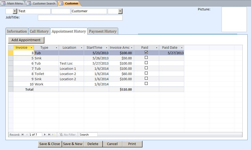 Garage Door Appointment Tracking Database Template | Appointment Database