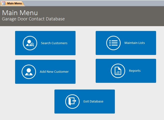 Microsoft access garage door contact tracking database for Free access 2013 templates