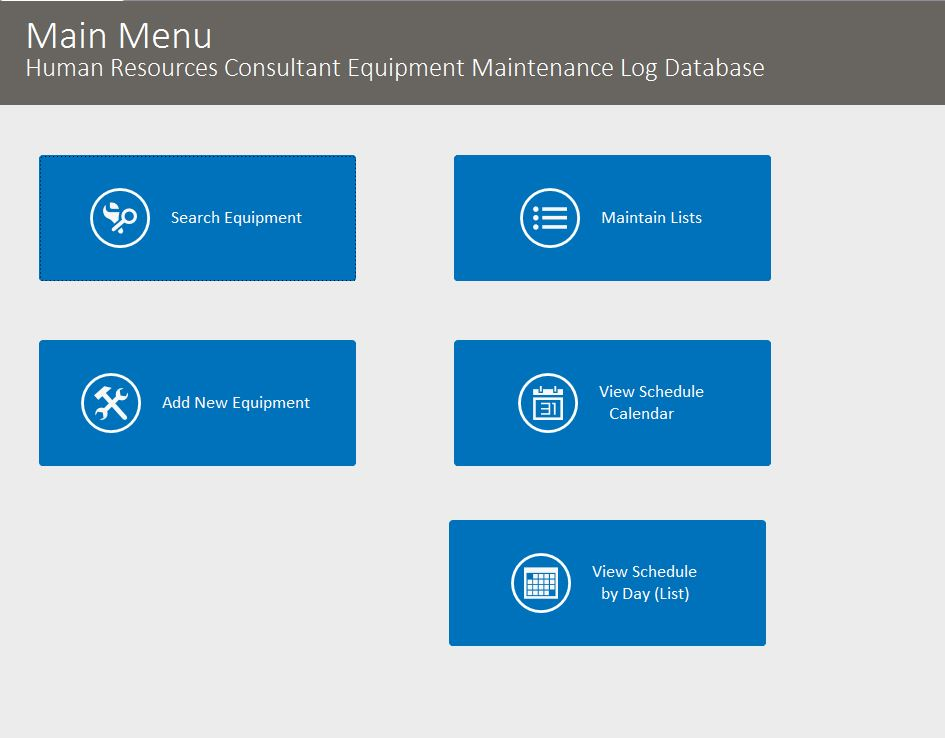 HR Consultant Equipment Maintenance Log Tracking Template | Equipment Database