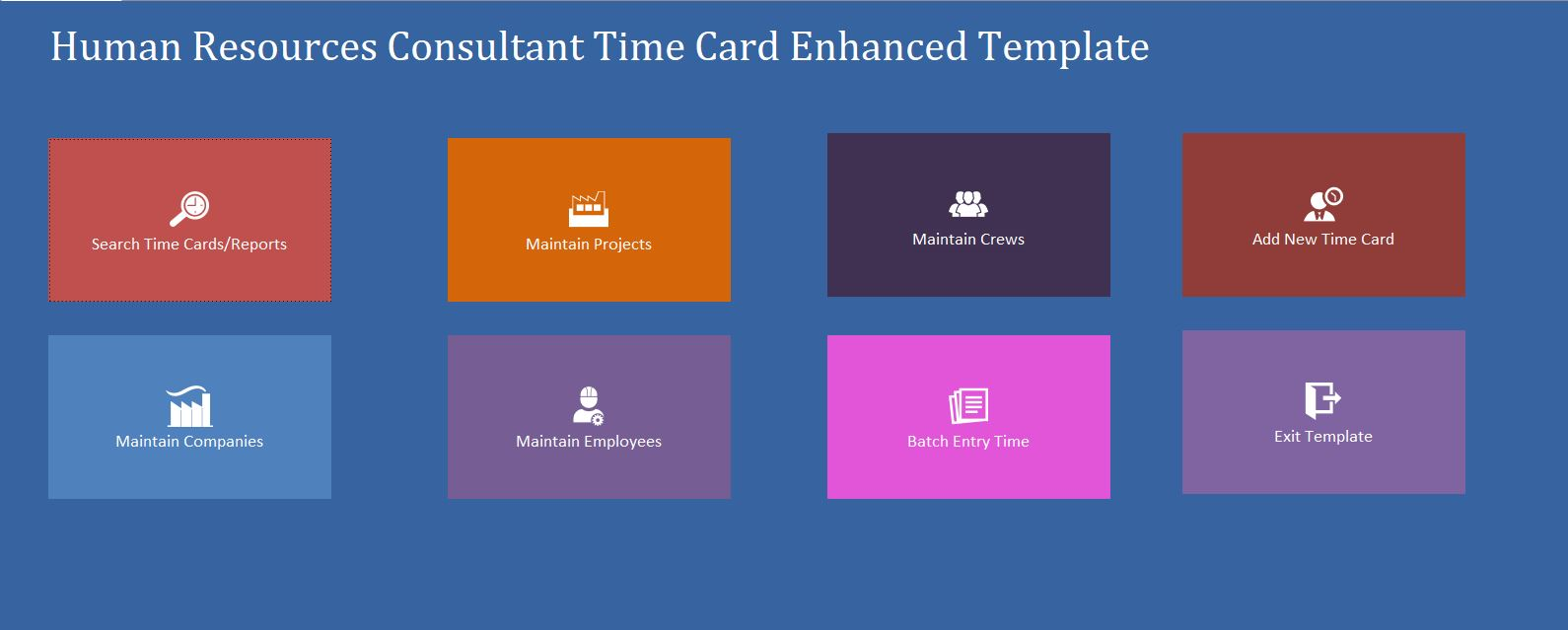 Enhanced Human Resources Consultant Time Hour/Clock Tracking Template | Tracking Database