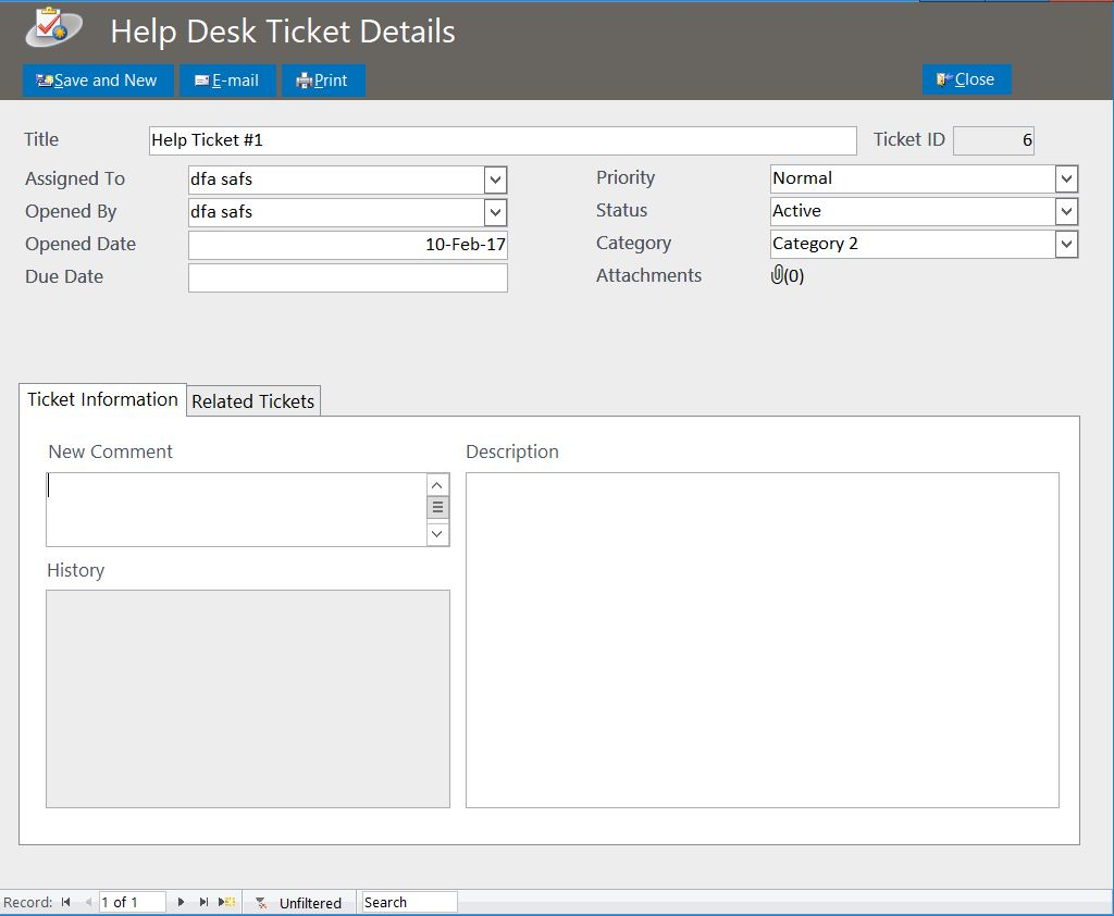 Hairdresser Help Desk Ticket Tracking Template | Tracking Database