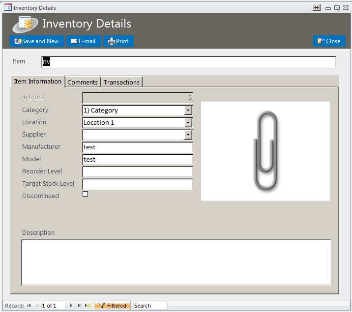 how to create an inventory system in access