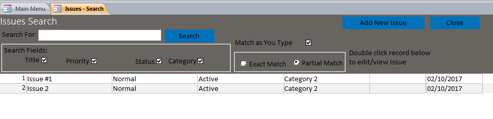 microsoft access issue tracking database template