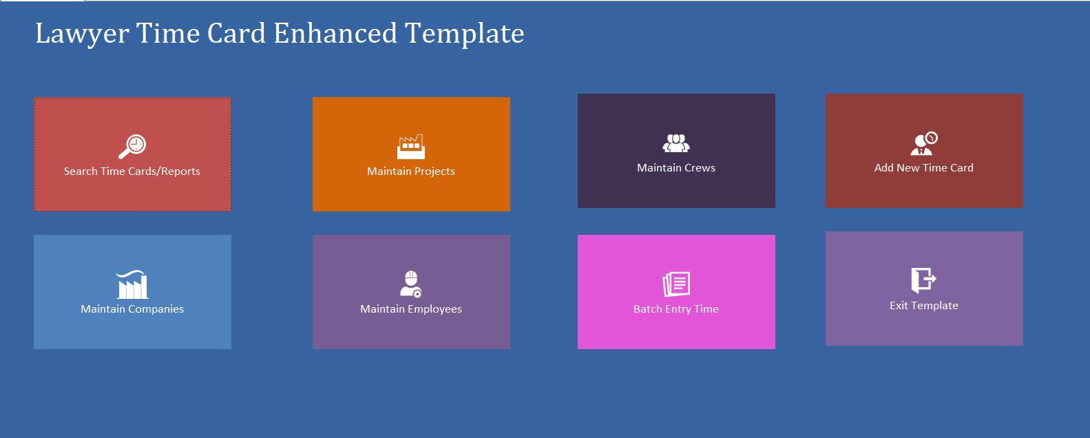 Enhanced Lawyer Time Card Template | Time Card Database
