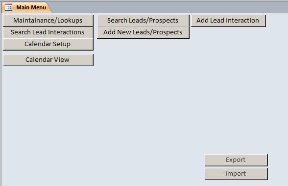Microsoft Access Sales LeadProspect Tracking Database Template